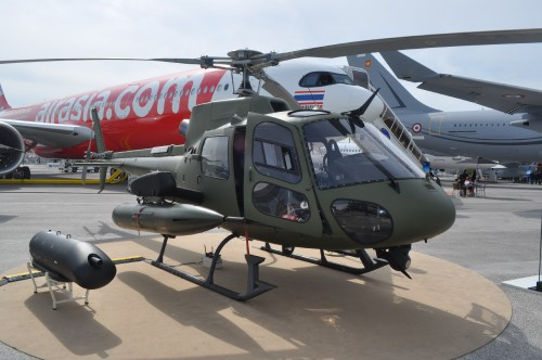 Airbus H125M on static display at the Paris Airshow. (VFS photo taken June 17, 2019 by VFS Staff)