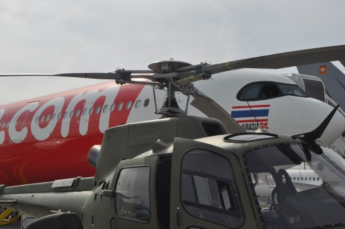 Rotorhead of H125M on static display at the Paris Airshow. (VFS photo taken June 17, 2019 by VFS Staff)