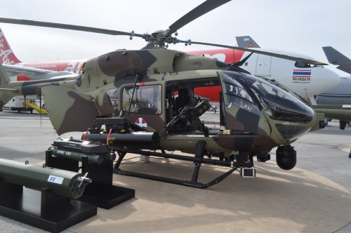 Side shot of H145M on static display at the Paris Airshow. (VFS photo taken June 17, 2019 by VFS Staff)