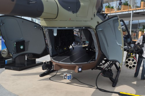Shot of H145M cargo doors on static display at the Paris Airshow. (VFS photo taken June 17, 2019 by VFS Staff)