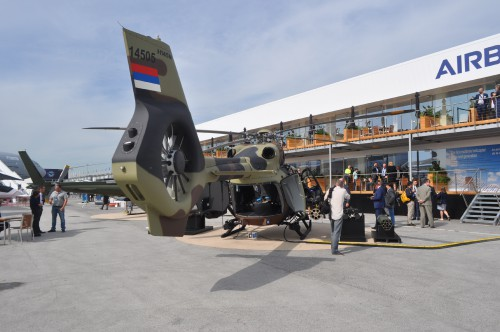 Rear shot of H145M on static display at the Paris Airshow. (VFS photo taken June 17, 2019 by VFS Staff)