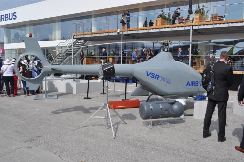 The Airbus VSR700 unmanned reconnaissance helicopter on static display at the Paris Air Show. (VFS photo taken June 21, 2019 by VFS Staff)