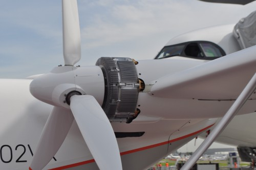 A close-up of the propulsion system of the Airbus Vahana on static display at the Paris Air Show. (VFS photo taken June 17, 2019 by VFS Staff)