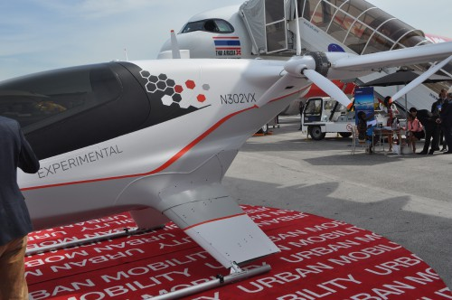 A close-up of the Airbus Vahana on static display at the Paris Air Show. (VFS photo taken June 17, 2019 by VFS Staff)