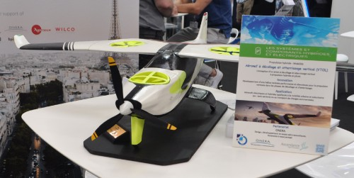 A model of the proposed Ascendance eVTOL at the Aircar booth at the Paris Air Show. (VFS photo taken June 21, 2019 by VFS Staff)