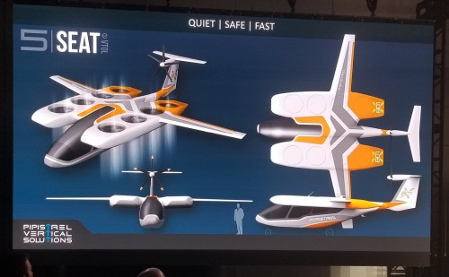 Pipistrel Vertical Solutions unveiled its 5-seat eVTOL design at Uber Elevate Summit 2019. Uber held its third annual summit on June 11-12 at the Ronald Reagan Building and International Trade Center in Washington, DC. For more information, go to www.evtol.news/uber (VFS staff photo taken June 11, 2019. CC-BY-SA 4.0)