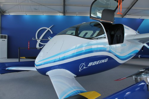 Boeing's Passenger Air Vehicle (PAV) from Aurora was on display at the Paris Air Show.  Although all flights of the PAV have been unmanned, there is a cockpit with seats. (VFS photo taken June 17, 2019 by Ian Frain)