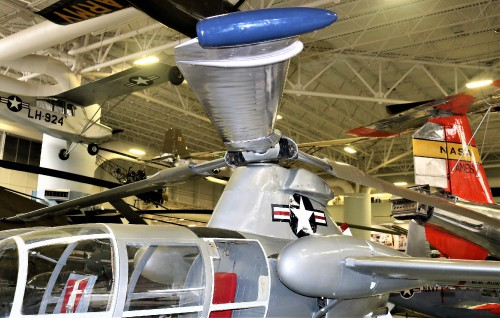 The McDonnell XV-1 is an experimental compound gyroplane developed for a joint research program between the United States Air Force and the United States Army to explore technologies to develop an aircraft that could take off and land like a helicopter but fly at faster airspeeds, similar to conventional airplane.  Rotor and wings in view. Photo taken at Fort Rucker Army Aviation Museum by Gene Munson.
