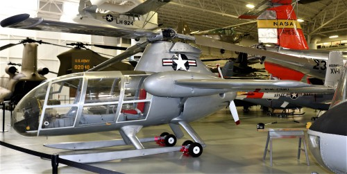 The McDonnell XV-1 is an experimental compound gyroplane developed for a joint research program between the United States Air Force and the United States Army to explore technologies to develop an aircraft that could take off and land like a helicopter but fly at faster airspeeds, similar to conventional airplane.  Overview of XV-1. Photo taken at Fort Rucker Army Aviation Museum by Gene Munson.