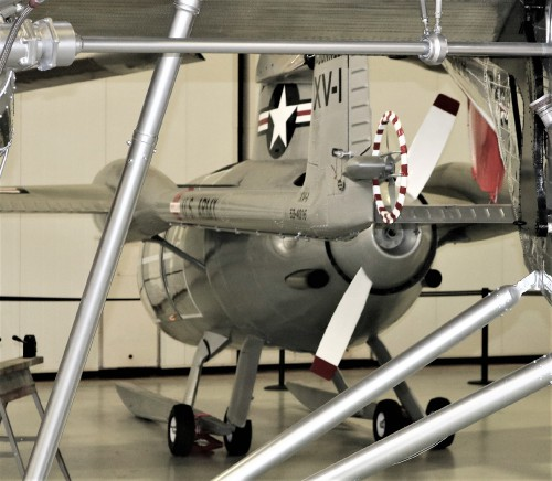The McDonnell XV-1 is an experimental compound gyroplane developed for a joint research program between the United States Air Force and the United States Army to explore technologies to develop an aircraft that could take off and land like a helicopter but fly at faster airspeeds, similar to conventional airplane.  We can see tail rotor view in photo here. Photo taken at Fort Rucker Army Aviation Museum by Gene Munson.