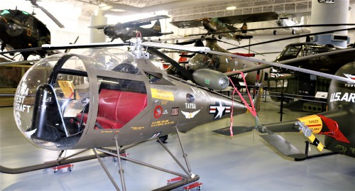 The Brantley YOH-3B was evaluated by the US Army in early 1960 as a potential Army Scout/Observation Helicopter at the US Army Test and Evaluation Board located at Fort Rucker, Al.  The aircraft provided excellent visibility for crew members with its unusual upper blisters and large glass nose.  At the time the Army was moving to turbine engine technologies so the Brantley was not selected.  The aircraft remained with the Test and Evaluation board and provided valuable research and testing data. Photo taken at Fort Rucker Army Aviation Museum, by Gene Munson