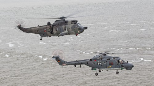 "The Westland Sea King (above), in service since 1975, and the Westland Lynx Mk 88A (below) since 1981, have been the mainstay of the German Marineflieger. The two operational helicopters form the air assets of MFG 5. These photos of Marinefliegergeschwader (MFG) 5 in action accompany the article ""German Navy Helicopter Fleet Still Going Strong,"" by Anno Gravemaker, in the Vertiflite Sep/Oct issue. Photo taken June 19, 2019 by Anno Gravemaker CC BY-NC-SA 4.0."