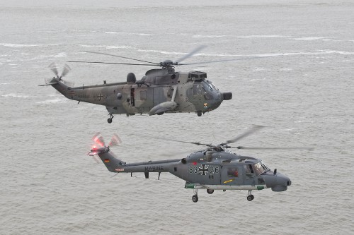 "The Westland Sea King (above), in service since 1975, and the Westland Lynx Mk 88A (below), since 1981, have been the mainstay of the German Marineflieger. The two operational helicopters form the air assets of MFG 5. These photos of Marinefliegergeschwader (MFG) 5 in action accompany the article ""German Navy Helicopter Fleet Still Going Strong,"" by Anno Gravemaker, in the Vertiflite Sep/Oct issue. Photo taken June 19, 2019 by Anno Gravemaker CC BY-NC-SA 4.0."