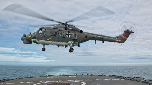 "German Naval Aviation Wing MFG 5 Sea Lynx landing (note the nose art). These photos of Marinefliegergeschwader (MFG) 5 in action accompany the article ""German Navy Helicopter Fleet Still Going Strong,"" by Anno Gravemaker, in the Vertiflite Sep/Oct issue. Photo taken June 19, 2019 by Anno Gravemaker CC BY-NC-SA 4.0."