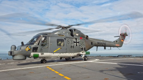 "German Naval Aviation Wing MFG 5 Sea Lynx after landing (note the nose art). These photos of Marinefliegergeschwader (MFG) 5 in action accompany the article ""German Navy Helicopter Fleet Still Going Strong,"" by Anno Gravemaker, in the Vertiflite Sep/Oct issue. Photo taken June 19, 2019 by Anno Gravemaker CC BY-NC-SA 4.0."