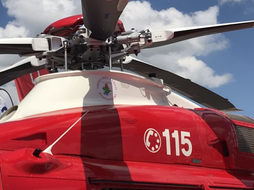 Italian helicopter manufacturer Leonardo exhibited the new firefighting and search and rescue AW139 belonging to the Italian Fire Corps, Vigili del Fuoco. VFS photo by Ian Frain, July 2019. CC BY-SA 4.0
