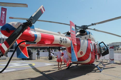 After an absence of six years, Russian Helicopters brought two of their light multirole utility Ansat helicopters. The Kazan Helicopters Ansat is powered by twin Pratt & Whitney Canada PW207K 630-shp (470-kW) engines with full authority digital engine control (FADEC).VFS photo by Ian Frain, July 2019. CC BY-SA 4.0