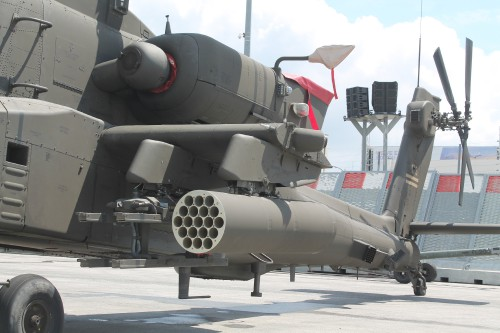 Boeing displayed their latest attack helicopter, the AH-64E Apache Guardian, at the 2019 Paris Airshow. The AH-64E Guardian evolved from the successful AH-64A/D Apache attack helicopter in service with over a dozen countries globally. This Photo highlights the aircraft's missile systems. VFS photo by Ian Frain, July 2019. CC BY-SA 4.0