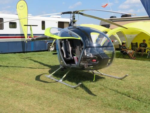 Ukrainian company Scout Aero's ultralight kit helicopter on display at Oshkosh 2019. Photo taken by Todd Hodges.