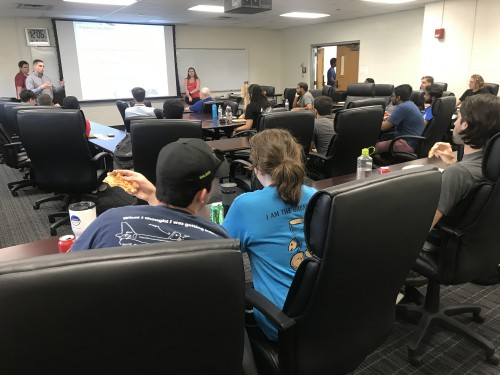 UT Arlington students and faculty members, Dr. Baxter Mullins and Dr. Dudley Smith,  gather for the first VFS Chapter meeting of the Fall 2019 semester. Chapter leadership includes: President, Casey Matsler; VP/ Recruitment,  Kacy Colstock-Millume; Secretary/PR, Alex Larsen; and Treasurer, Brandi Garland. They led discussions on new aircraft being developed as well as the recent aircraft that have been certified and making improvements to vertical flight. They reviewed the various military programs, especially the FVL programs and their implications on students soon entering the professional industry.