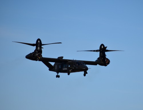 The V-280 back in hover mode preparing for maneuvers at low altitude