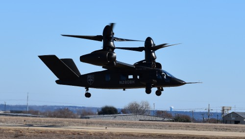 V-280 preparing for maneuvers in hover mode