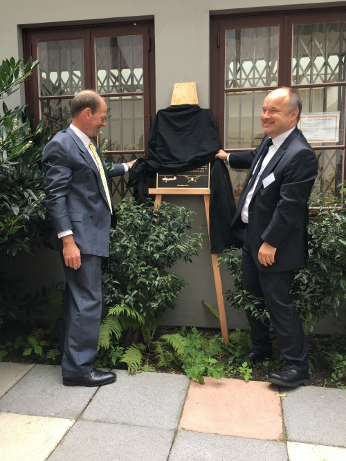 On Sept 15, 2019, VFS held its Vertical Flight Heritage Site Award ceremony at the Focke's Wind Tunnel in Bremen, Germany.  Dr. Kai Steffen (right) and Berend van der Wall (left) unveil the VFS plaque at the Focke Wind Tunnel. (Photo courtesy by Berend van der Wall - the author)