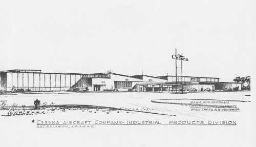 Hutchinson, Kansas - An architect's drawing illustrates the proposed $1,500,000 expansion program scheduled for Cessna Aircraft Company's Industrial Products Division here. At left, is the 130,000 square foot addition that will adjoin the firm's present plant. Center portion of the picture shows the present factory building. At right, is the proposed 10,000 square foot engineering building and the 18,000 square foot experimental laboratory building. The major expansion will be more than double the present plant which covers a 120,000 square foot area.  Mann and Company, Wilson and Company Architects & Engineers