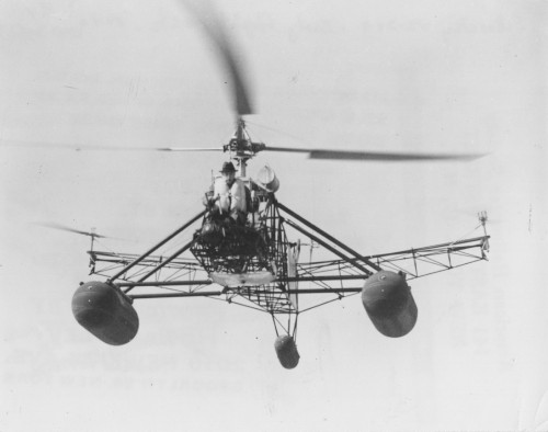 Sikorsky VS-300 early flight tests, 1940. 2nd configuration modified for amphibious operations.  Howard Levy photo.