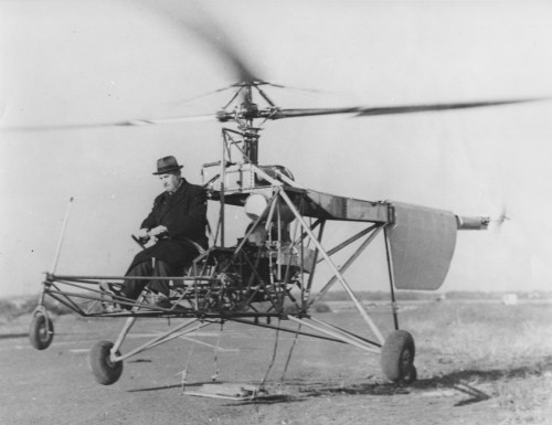 Igor Sikorsky, Sikorsky VS-300, 1939. This was the 1st configuration.  Trail Blazer. The VS-300 helicopter lifts off the ground on one of its early test flights in September, 1939, with inventor Igor I. Sikorsky at the controls. The weights hanging from the landing gear struts were attached to prevent the aircraft from rising very far into the air until the controls were perfected and understood.  Sikorsky Aircraft photo