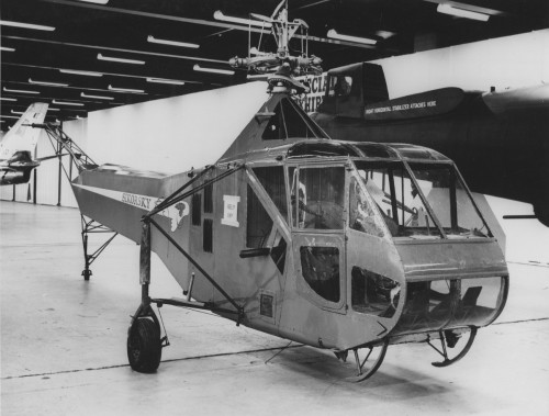 Air Force Museum -- Sikorsky R-4 helicopter first to be mass-produced in U.S., is on display at Wright-Patterson Air Force Base in Fairborn, Ohio.  Sikorsky Aircraft photo.