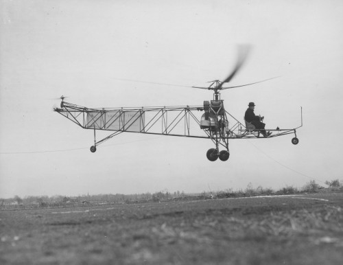 Igor Sikorsky, Sikorsky VS-300 four rotor. This appears to be the 2nd configuration.  Chance Vought Aircraft photo.