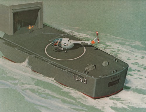 Helipad carrier, concept drawing.  From Vertiflite (AHS Newsletter) Aug 1969.