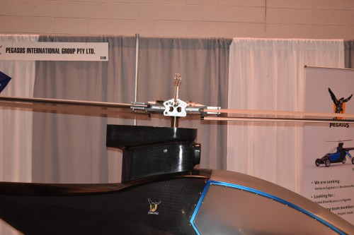 "A close up of the rotorhead on the Pegasus E ""Flying Car"" on display at CES 2020"
