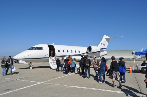 Bombardier Challenger 604 business jet public tours at the GoFly Prize Final Fly Off on Feb. 29, 2020 at NASA Ames Research Center, Moffett Field, California.(VFS staff photo. CC-BY-SA 4.0)