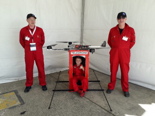 Colin Hilton (left) with his test pilot (his son) in the subscale demonstrator of their Teledrone. (Teledrone photo courtesy of Colin Hilton)