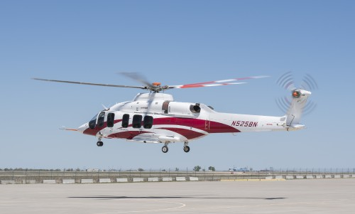 First flight of the Bell 525 Relentless Flight Test Vehicle (FTV) 3 at Bell's Amarillo Assembly Center in Amarillo, Texas. Photographed by Jay Miller on April 22, 2016. Used with permission. (CC-BY-SA 4.0)
