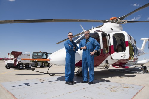 Bell's test pilots after the first flight of the Bell 525 Relentless Flight Test Vehicle (FTV) 3 at Bell's Amarillo Assembly Center in Amarillo, Texas. Photographed by Jay Miller on April 22, 2016. Used with permission. (CC-BY-SA 4.0)