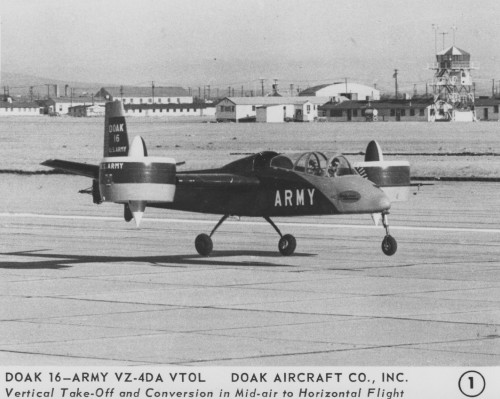 "Doak Aircraft Co., Inc. model 16, VZ-4DA.   ""Vertical Take-Off and Conversion in Mid-air to Horizontal Flight""  Release June 8, 1959"