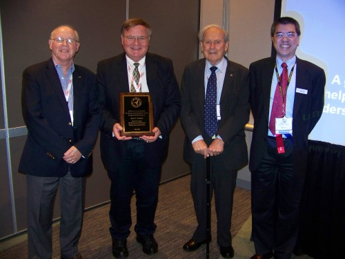 "The Bernard Lindenbaum Award for Forum 71 Best Historical Paper awarded to Paul J. Fardink for his paper titled, ""The U.S. ARMY's CH-54 Skycrane Helicopter: History and Contributions."" L-R: Bruce Charnov, Paul Fardink, David Gibbings, Jacques Virasak.  Forum 71, May 4-7, 2015 Virginia Beach, Virginia USA"