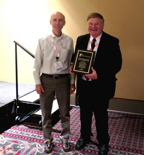 "Paul J. Fardink won the Bernard Lindenbaum Award for Forum 75 Best Historical Paper. His paper titled, ""The Lost Treasures of Maitland Bleecker: His Helicopter and Other Innovation,"" at VFS Annual Forum 75, 2019. In photo, Paul with Robert M. Beggs.  Forum 75, May 13-16, 2019 Philadelphia, Pennsylvania USA"