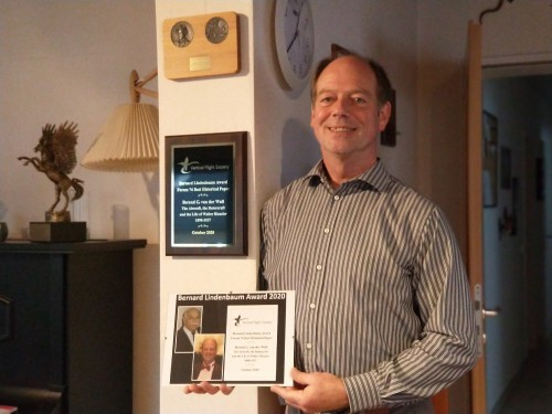 """The Bernard Lindenbaum Award for Forum 76 Best Historical Paper awarded to Berend van der Wall for his paper """"The Aircraft, the Rotorcraft and the Life of Walter Rieseler 1890-1937,"""" presented at VFS Annual Forum 76, October 5-8, 2020, Virtual."""